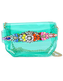 New transparent green gemstone decorated simple design pu leather Messenger bags