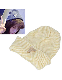 Ladies beige metal triangle shape decorated hedging design wool Knitting Wool Hats