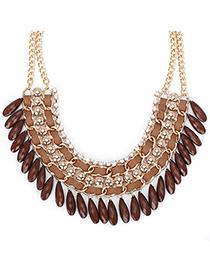 Uniqe coffee diamond decorated tassel design alloy Fashion Necklaces