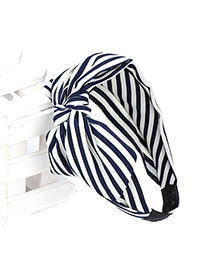 Traditiona navy blue  & white stripe pattern decorated bowknot design chiffon Hair band hair hoop
