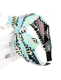 Girls multicolor geometry pattern decorated bowknot design chiffon Hair band hair hoop