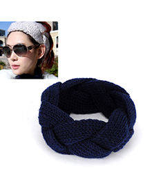 Twilight navy blue twist weave simple design wool Hair band hair hoop