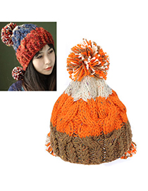 French orange coffee white big ball decorated twist design wool Knitting Wool Hats