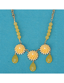 Tribal yellow flower decorated simple design alloy Korean Necklaces
