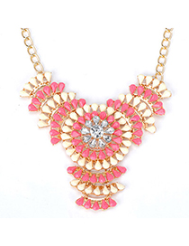 Authentic plum red & white flower decorated hollow out design alloy Fashion Necklaces