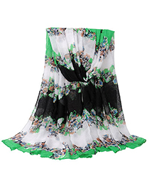 Flamenco Green Flower Pattern Simple Design Voile Thin Scaves