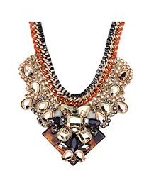 Concealed Gold Color Gemstone Decorated Weave Design Alloy Fashion Necklaces