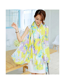 Royal Green Flower Pattern Simple Design Voile Thin Scaves