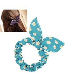Plus Size Green & Beige Dot Pattern Bowknot Shape Design Chiffon Hair Band Hair Hoop
