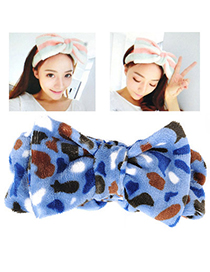 Memorable Blue Leopard Pattern Bowknot Shape Design Flannel Hair Band Hair Hoop
