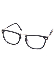 Pewter Matte Black Sliding Legs Decorated Simple Design Resin Fashon Glasses