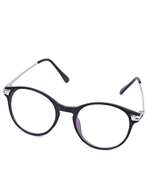 Formal Matte Black Hollow Out Round Frame Design Resin Fashon Glasses