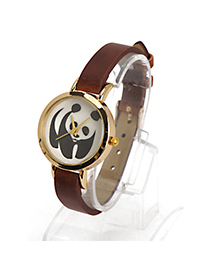 Fantasy Dark Brown Owl Pattern Decorated Simple Design Alloy Ladies Watches