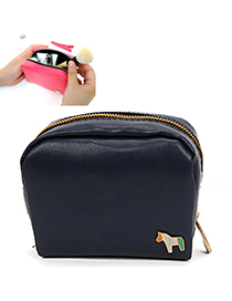 Hipster Navy Blue Horse Decorated Suqare Shape Design Pu Household goods