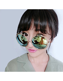 Travel Gold Color Round Frame Decorated Simple Design Alloy Women Sunglasses