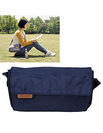 Religious Navy Blue Pure Color Simple Design Nylon Messenger bags