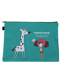 Minted Green Cartoon Giraffe Pattern Simple Design Canvas Pencil Case Paper Bags