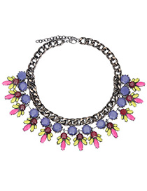 Elephant Pink & Yellow Gemstone Decorated Bee Shape Design Alloy Bib Necklaces