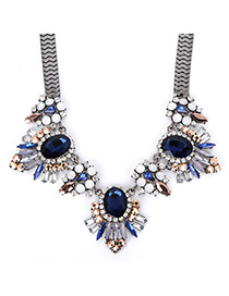 Emerald Dark Blue Gemstone Decorated Simple Design Alloy Fashion Necklaces