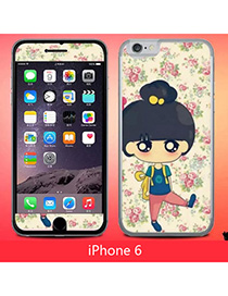 Concealed Multicolor Cartoon Rose Girl Simple Design (6) Leather Iphone 6