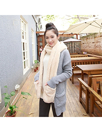 Fresh White Pure Color Simple Design Wool knitting Wool Scaves
