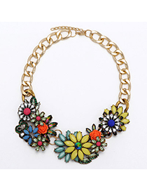 Limited Yellow & Green Gemstone Decorated Flower Design Alloy Bib Necklaces