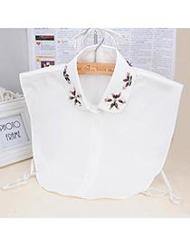 Adjustable White Gemstone Decorated Shirt Shape Design Cotton False Collar