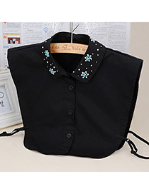 Specialty Black Diamond Decorated Shirt Shape Design Cotton Detachable Collars