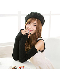 Fabulous Black Pure Color Simple Design Cashmere Fingerless Gloves