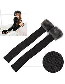 Bridal Dark Gray Imitation Cashmere Decorated Long Deisgn Cashmere Fingerless Gloves