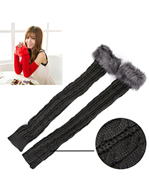Customized Dark Gray Imitation Cashmere Decorated False Sleeves Deisgn Cashmere Fingerless Gloves