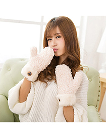 Marvelous Beige Bear Pattern Simple Design Wool Full Finger Gloves