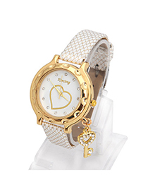 Synthetic White Key Shape Decorated Simple Design Alloy Ladies Watches