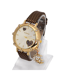 Peridot Coffee Moon Star Shape Decorated Simple Design Alloy Ladies Watches