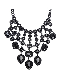 Indian Black Gemstone Decorated Waterdrop Shape Design