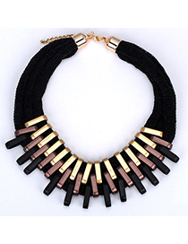 Harry Black Metal Stitching Decorated Multilayer Design Alloy Bib Necklaces