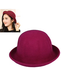 Corduroy Purple Red Pure Color Simple Design Woolen Beanies Others