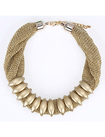 Twilight Gold Color Beads Decorated Simple Design Alloy Korean Necklaces