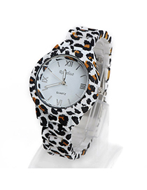 Packaging Black Leopard Pattern Decorated Simple Design Alloy Ladies Watches