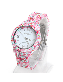 Limited Pink Flower Butterfly Pattern Decorated Simple Design Alloy Ladies Watches