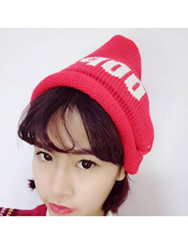 Corduroy Red Letter Oops Decorated Simple Design Wool Knitting Wool Hats