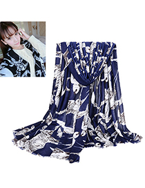 Fantastic Navy Blue Swallow Pattern Simple Design Voile Thin Scaves