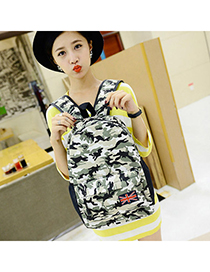 Double Army Green Camouflage Pattern Sinple Design Canvas Backpack