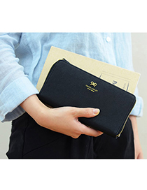 Sanctuary Black Bowknot Decorated Simple Design Pu Wallet