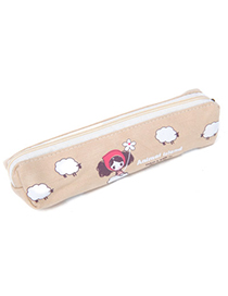 Headrest Khaki Girl & Sheep Pattern Simple Design Canvas Pencil Case Paper Bags