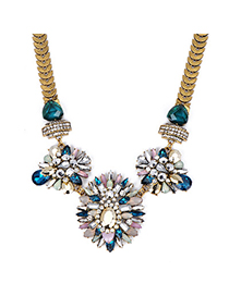 Initial Blue Gemstone Decorated Flower Design Alloy Fashion Necklaces