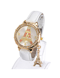 Flirty White Diamond Decorated Eiffel Tower Pattern Design Pu Ladies Watches