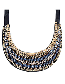 Infinity Sapphire Blue Beads Decorated Multilayer Design Alloy Fashion Necklaces