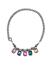 Boxed Multicolor Square Shape Decorated Simple Design Alloy Korean Necklaces
