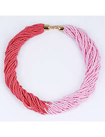 Sequined Pink & Watermelon Red Beads Decorated Weave Design Alloy Korean Necklaces